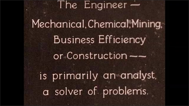 1930s: Men sit on building, talk. Intertitle card explains what an engineer is. Intertitle card describes problem to be solved.