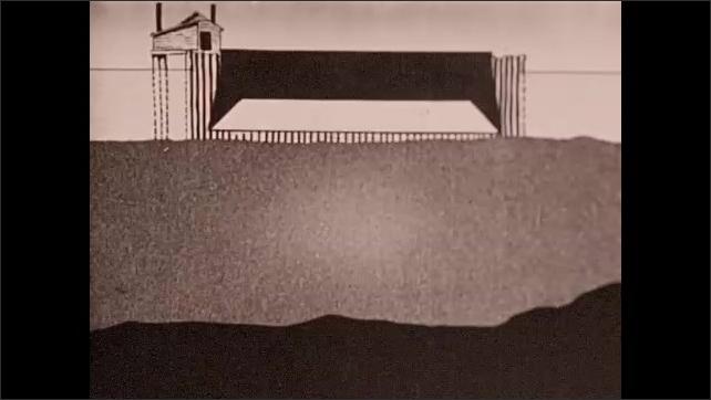 1930s: Diagram of bridge construction phases. Drawing of men excavating ground for bridge.