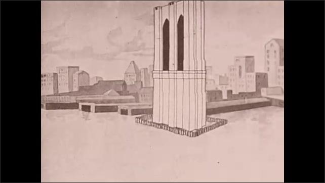 1930s: Animation of bridge tower being built. Intertitle card describes bridge building problem.