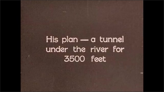 1930s: Men sit around table, look at papers, talk. Map of Brooklyn and East River. Intertitle card. Animation of construction of underwater tunnel.