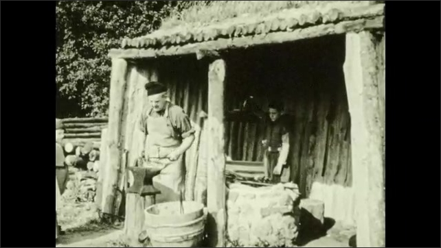 1940s: Hand twists knife point into wood, sews leather, fur, holds handmade axe. Wooden hut, blacksmiths hammer anvil. Lumberjack saws log. Dirt hole, person buries fish, sews seeds.