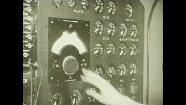 1940s: Person writes in notebook, types on manual typewriter, plugs cable into receptacle, turns dial on gauge. Captain holds steering wheel, pulls lever.