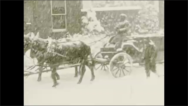 1930s: In snow, horses pull wagon with man on it and man walking next to it. Title card.