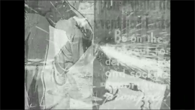 1940s: Man cutting metal, posters superimposed over image.