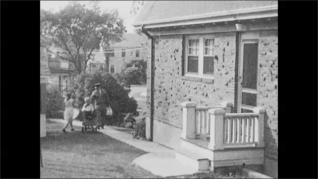 1930s: Water pours into bubbles.  Neighborhood.  Man delivers milk and greets children.  Dots appear on animated map.
