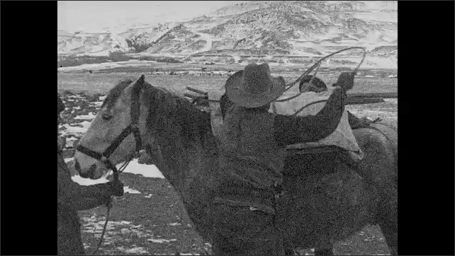 1930s: UNITED STATES: man saddles up horse. Rangers prepares horses by ranger station. Snow on ground. Flag flies over station