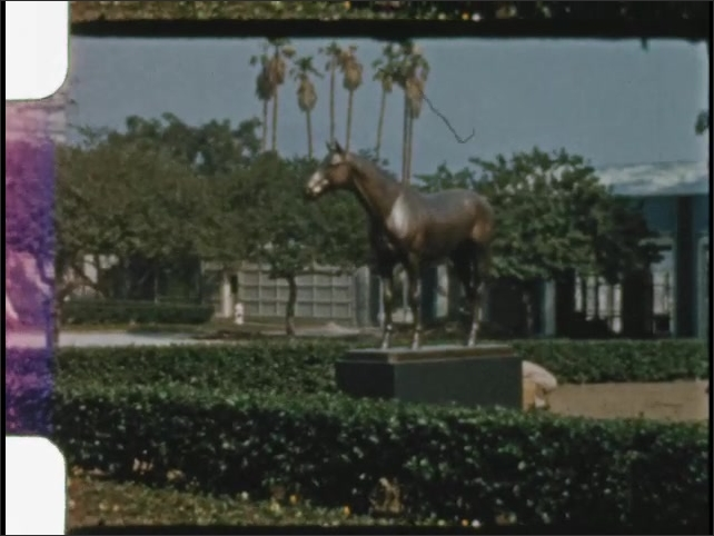 1940s: UNITED STATES: water feature in gardens. Statue of horse. Building and grounds.