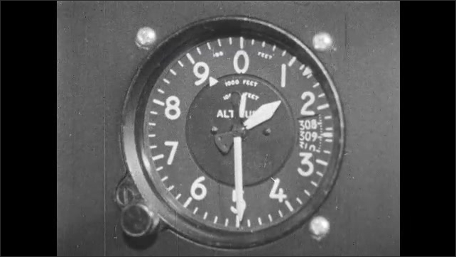 1960s: Close-up of original altimeter dial. Three pointers to indicate hundreds, thousands and ten thousands of feet.