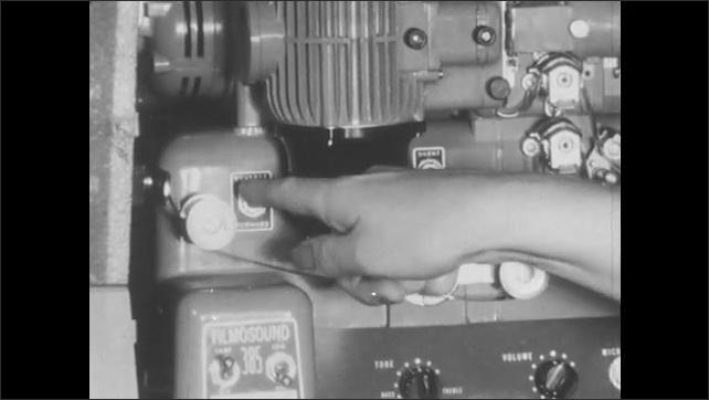 1950s: Woman adjusts clutch control knob, flips switches, turns volume knob up.
