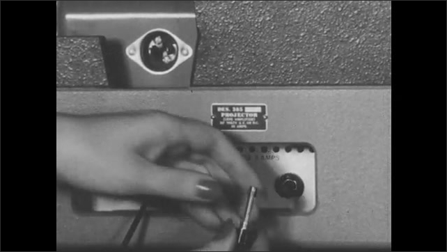 1950s: Woman unplugs power cord, removes fuse holder from panel. Woman removes and replaces fuse.
