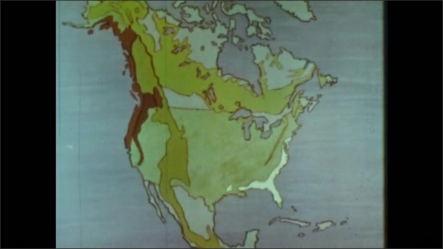 1960s: Animated map of North America shows different regions of forests.