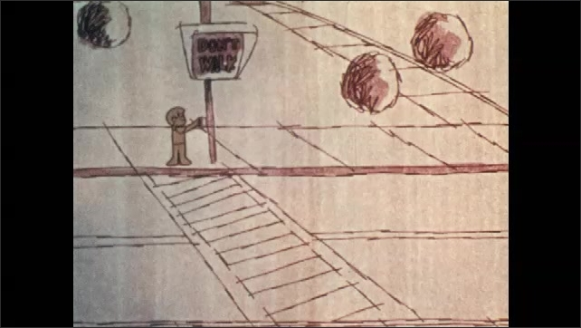 1970s: Animation. A child waits at a crosswalk. A group of children talk to an anthropomorphic car. A child presses the signal button and children cross the street as traffic stops.