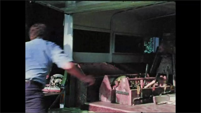 1970s: Close up, hand pulls handle, zoom out, man loads tool boxes into back of truck. Man puts tool in truck bed, closes hatch. Man closes back of truck, gets into truck, logo on screen.