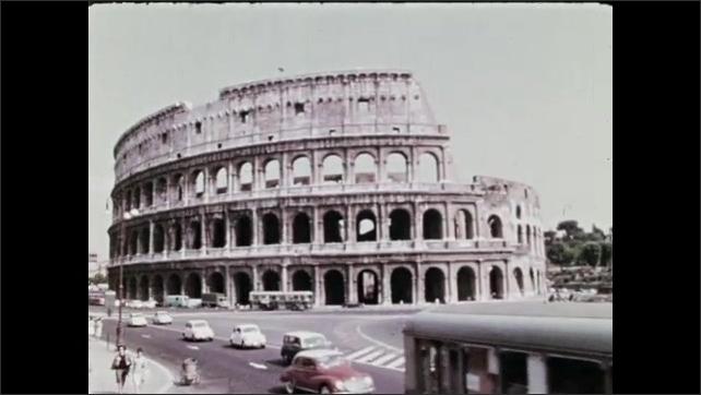 1970s: Colosseum.  Group of people stand and talk.  Traffic.  Map of Italy.