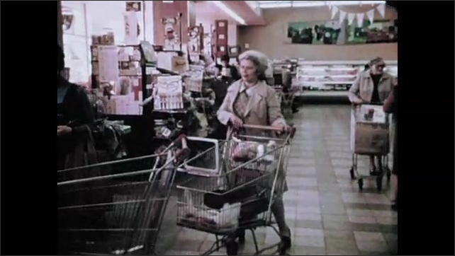 1970s: Soldier prepare rifle then stands at attention. Soldiers stand at attention with rifles in row. Soldiers crouch to one knee and aim rifles. Woman in grocery store. Soldier at checkout register.