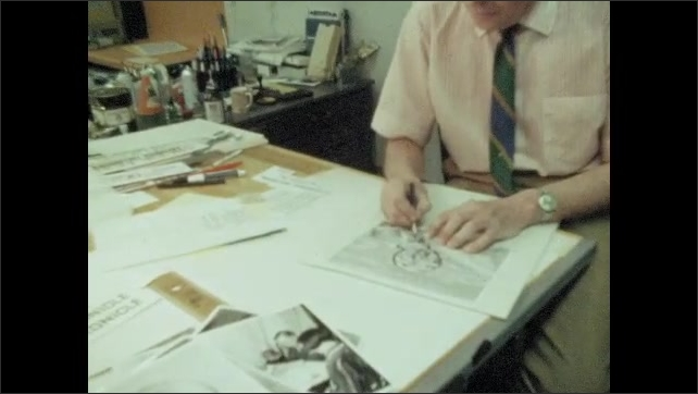 1970s: UNITED STATES: lady draws border. Lady draws artwork in office. Lady at desk. Hand holds pencil