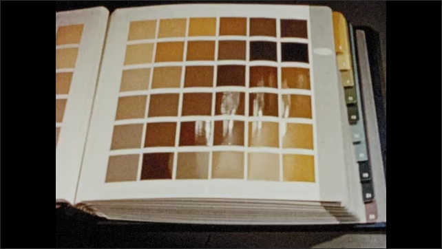 1950s: Page in book of color pallets. Woman points to color on page.