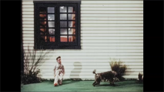 1950s: UNITED STATES: dog barks at boy outside window. Puppet boy runs away from home