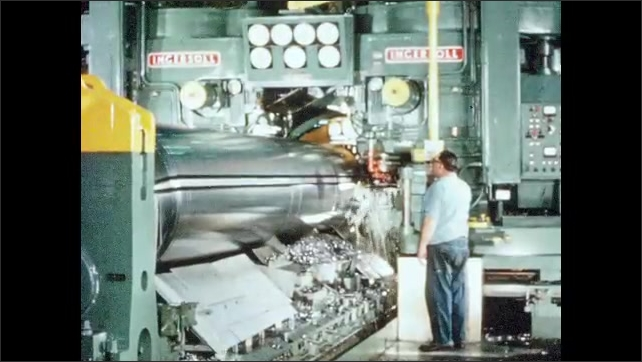1930s: UNITED STATES: man works in laboratory. Machine trims metal. Man works in factory. Man maintains machine. Van drives away from factory