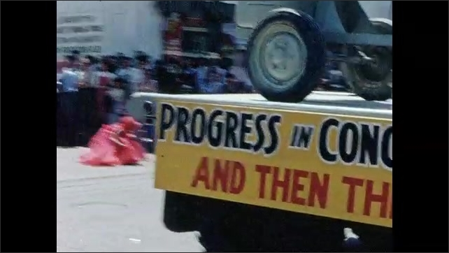 1950s: Truck w/ sign Progress in Concrete, Remember When. Flatbed truck w/ cement mixer and sign Progress in Concrete - And Now This, people throw candy. Cement truck sign Progress in Concrete 1956.