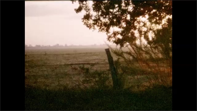 1950s: UNITED STATES: sun sets over farm. Tractor in field. Man drives tractor. Sunlight through trees.