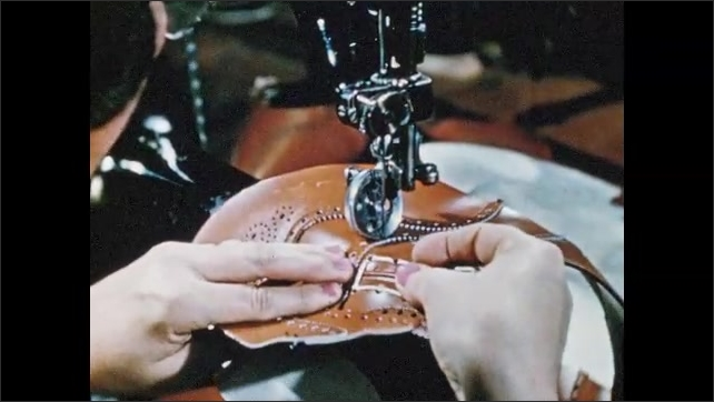1950s: Woman sews tip of shoe upper to quarters, adds leather reinforcement.