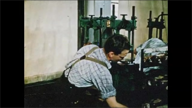 1950s: Man applies tar to bottom of insole. Man place sole over insole and attaches them together with machine. Man trims sole of shoe with machine.