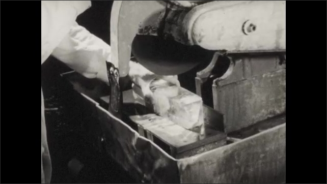 1950s: crystals unloaded from container, rack of crystals taken to buzzsaw to be cut