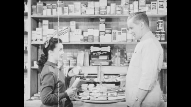 1940s: Store.  Girl looks at products.  Man and girl speak.  Girl hands jar to man.  Girl rubs hairbrush.