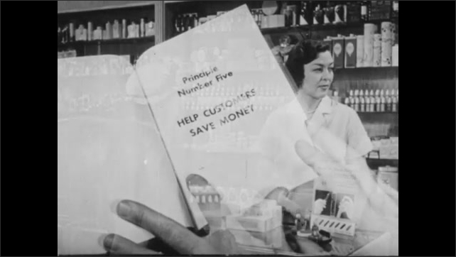 1940s: UNITED STATES: lady takes product from shelf. Lady serves customer. Hand turns page in book. Principal Number Six title