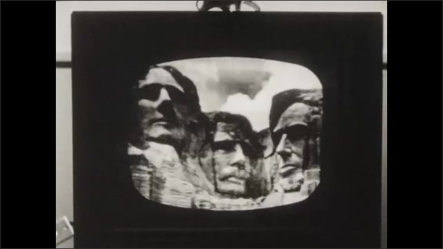1960s: Mount Rushmore on television monitor.