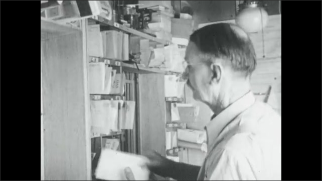 1940s: Women stand at counter, man fills bag at grocery store. Man sorts mail. Man sprays fire with water pistol, man wears firefighter helmet.