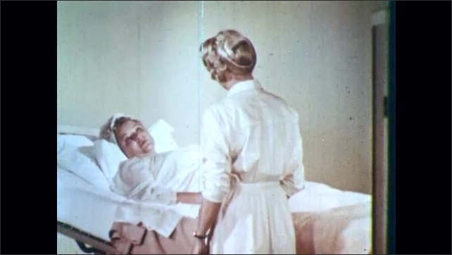 1960s: Animated drawing of gallstone in bile duct. Animated sparks appear near gallstone.  Nurse comforts woman in hospital bed. Nurse and patient talk.