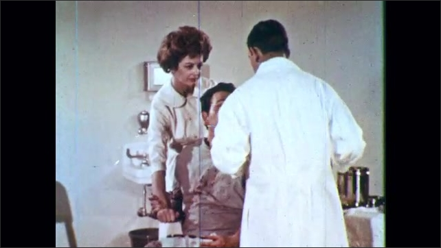 1960s: Nurse steadies patient as doctor puts in stitches. Graphic of jagged triangles coming together.