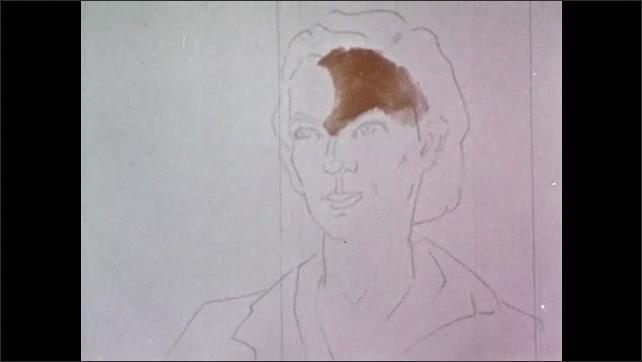 1950s: Hand paints skin tones onto sketched outline of woman's portrait.