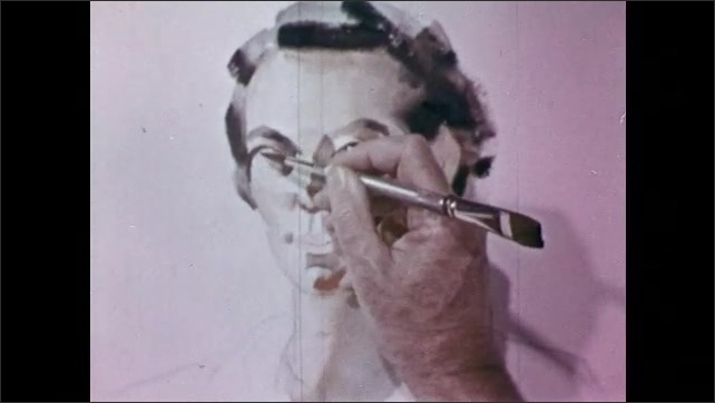 1950s: Woman poses for portrait painting. Hand paints eyes onto portrait of woman.