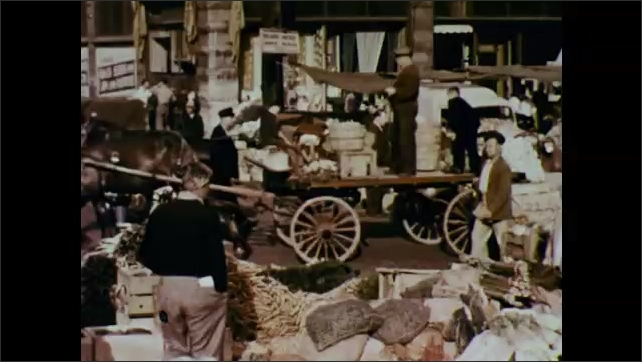1950s: Children on playground.  Farm.  Horse pulls cart through city market.  Children cut paper.