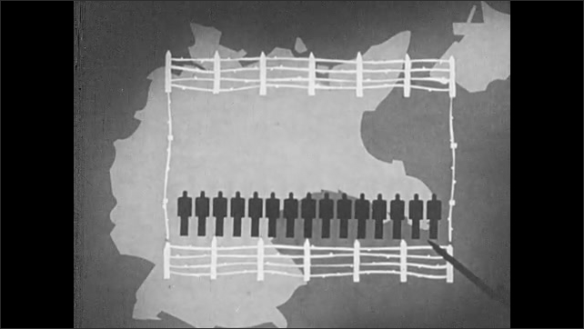 1940s: UNITED STATES: Munich image with soldier and wire fence. Nazi map of Germany. Internally displaced people on map. Map of Nazi Europe