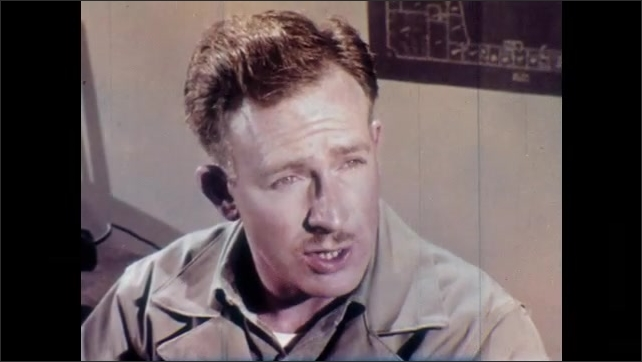 1950s: Man in doorway. Close up of man talking. Man closes door, talks.