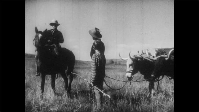 1940s: Man and boy lead bulls pulling wagon across field. Man on horse rides up, talks to man.
