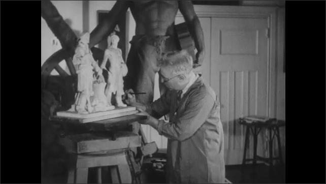 1940s: UNITED STATES: plaster model of man. Man uses compass calibers to measure model