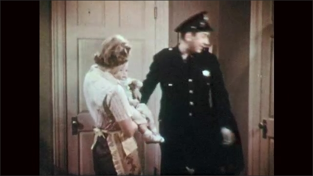 1950s: UNITED STATES: baby waves to dad. Man leaves for work. Policeman says goodbye to family. Man opens door.