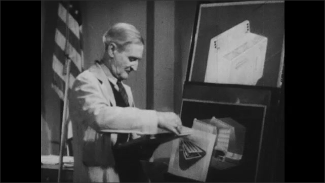 1940s: Man turns chart and flips over paper. Man lines up posters on shelf. People walk in hallway.