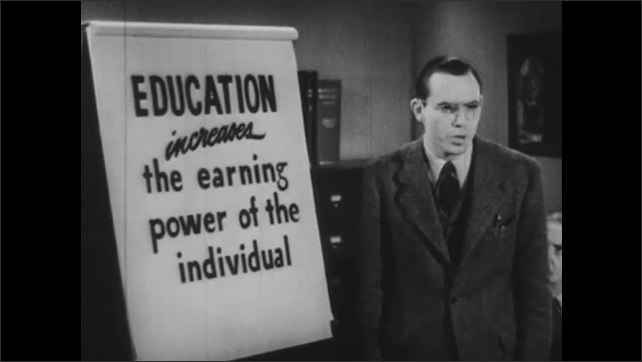 1940s: Hand points to words on pad of paper. Man talking next to paper on easel.