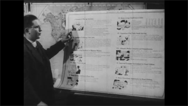 1940s: Man talking in front of chart, turns page of chart.
