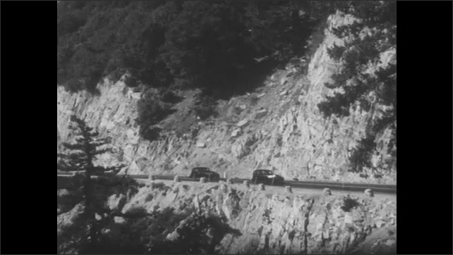 1930s: Industrial claw picks up gravel. Industrial piston pumps up and down. Pickup truck hauls gravel up mountain road. Cars drive on mountain road, cars drive on city street.