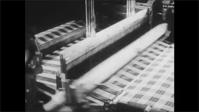 1950s: Construction site.  Men and women work.  Factory.  Mason.  Milk bottles are filled at plant.  Machine weaves fabric.  Men work at train station.