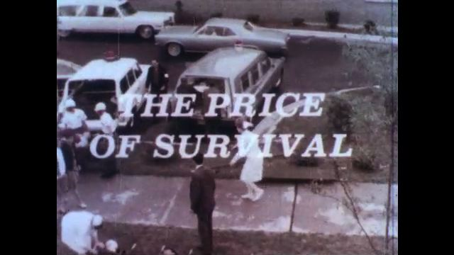 1970s: UNITED STATES: Nurse at hospital. Casualties arrive at hospital. Nurses work outside hospital.