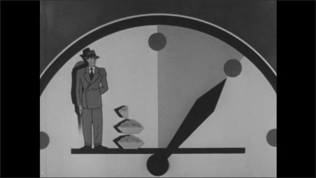 1940s: Illustrated Englishman and bread disappear. Hands of clock move. Meat appears near American man. Man appears on clockface. Short stack of meat appears near Russian.