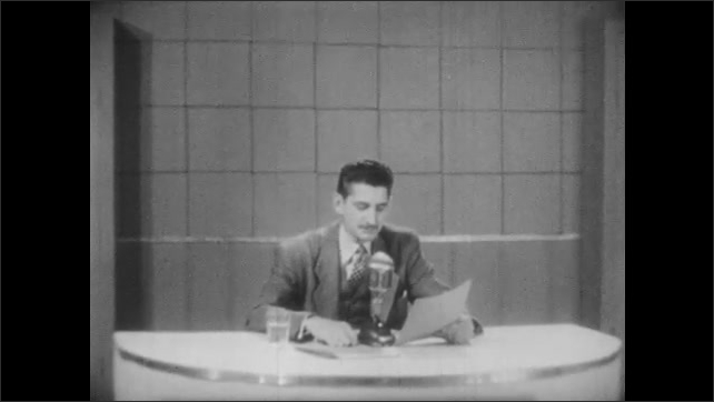 1940s: Man plays record on record player. Man sits behind table, reading from paper into microphone.